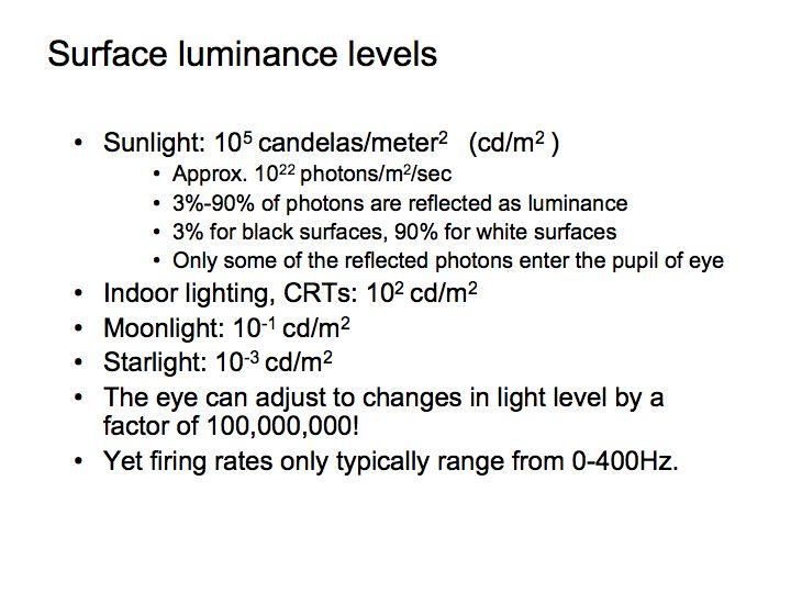 Perception Lecture Notes: Light/Dark Adaptation